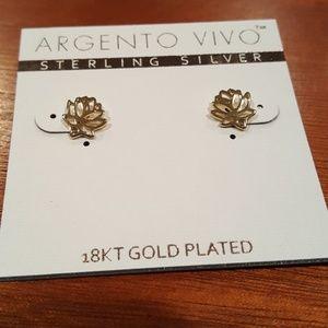 18k Gold Lotus Earrings
